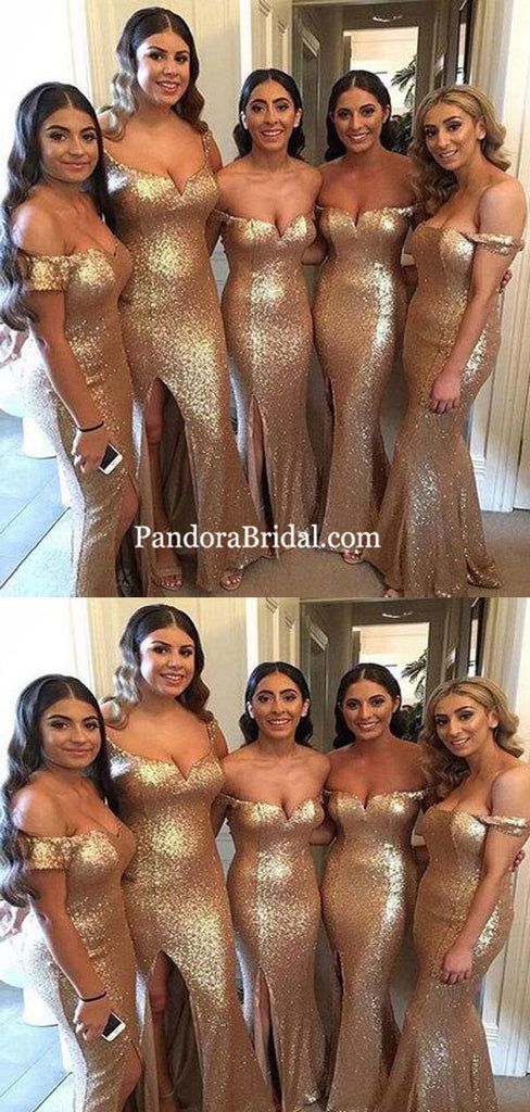 Shiny Off The Shoulder Long Mermaid Side Slit Bridesmaid Dresses, Bridesmaid Dresses, PD0318