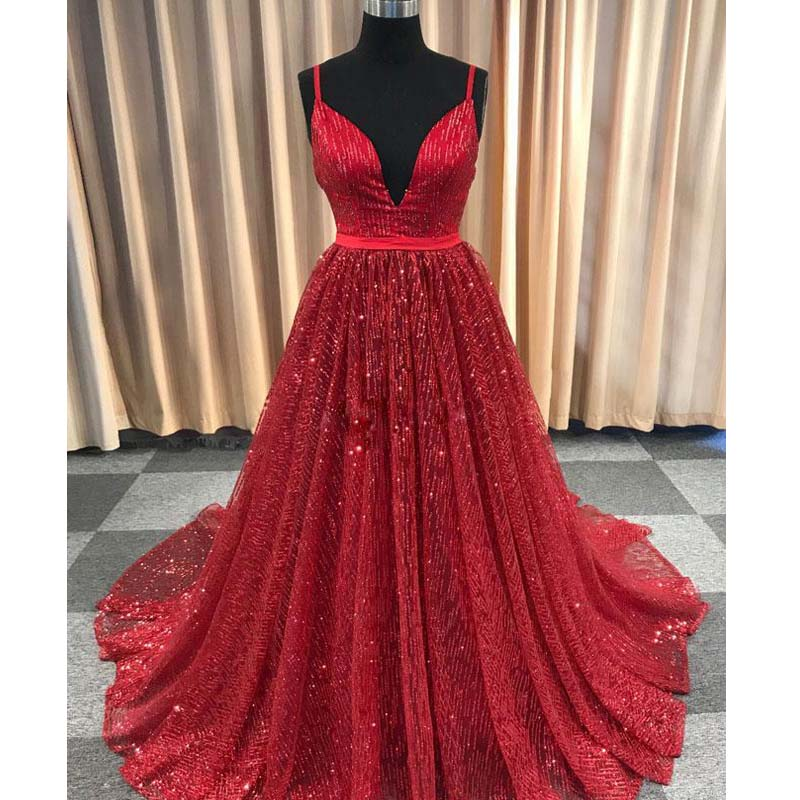 Shiny Spaghetti Straps Red Sequin Tulle Long A-Line Prom Dresses, Prom Dresses, PD0359