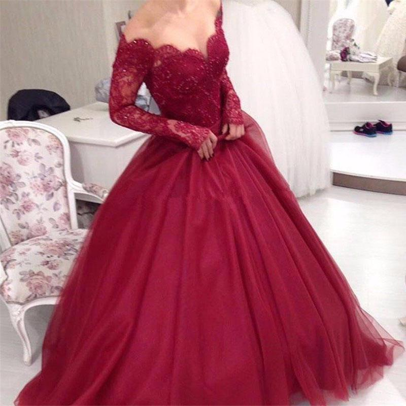 63c9aa2370ad3 Off Shoulder Dark Red Long Sleeve Lace A line Long Evening Prom Dresses