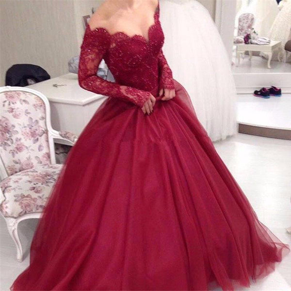 Off Shoulder Dark Red Long Sleeve Lace A line Long Evening Prom Dresses, Prom Dresses, VB01196