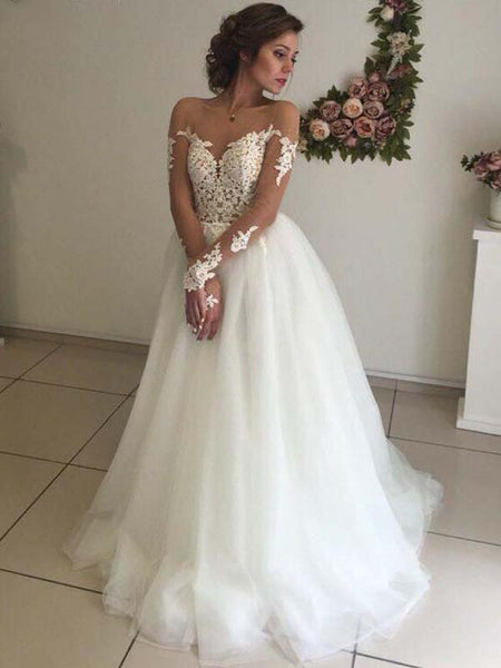 Charming See Through Long Sleeves V-Neck V-Back Long A-Line Wedding Dresses With Lace Appliques, Lovely Wedding Dresses, VB01179