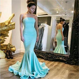 Simple Blue Strapless Open Back Long Mermaid Prom Dresses With Trailing, Prom Dresses, VB01226