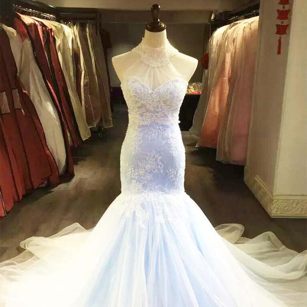 Alluring Halter Lace Up Mermaid Lace Wedding Dresses With Trailing, Gorgeous Wedding Dresses With Beaded, Wedding Dresses, PD0203