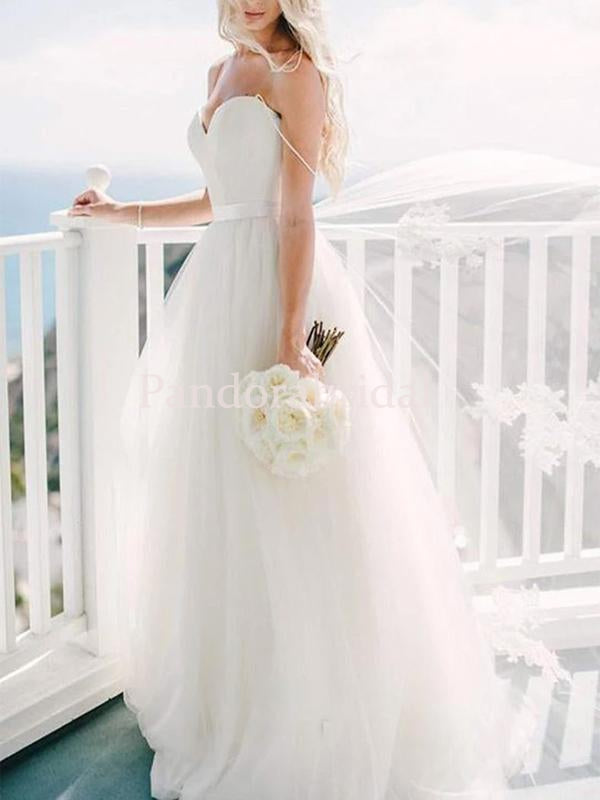 Simple Sweetheart Long A-Line Tulle Wedding Dresses, PD01666