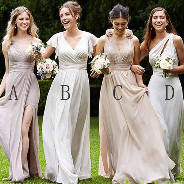Simple Mismatched Top Pleated Long A-Line Chiffon Bridesmaid Dresses, 2019 Bridesmaid Dresses, PD0570