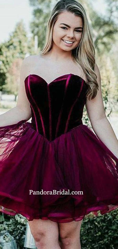 Charming Plum Sweetheart Knee-length Homecoming Dresses, Homecoming Dresses, PD0536