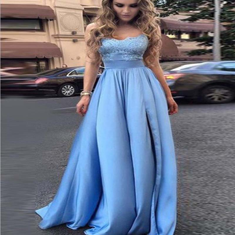 Charming Blue Lace Top Long A-Line Prom Dresses, Simple Prom Dresses, PD0302