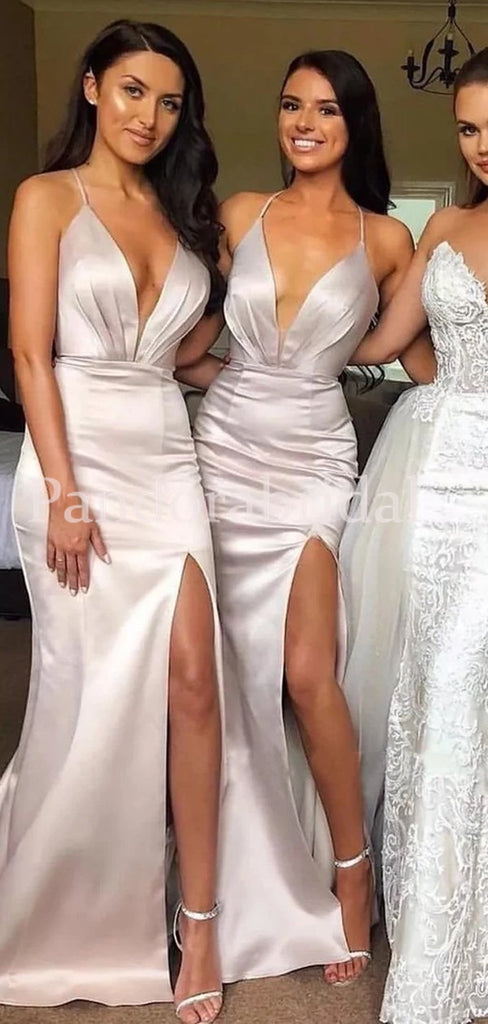 Charming Halter Long Mermaid Side Slit Bridesmaid Dresses, PD01711