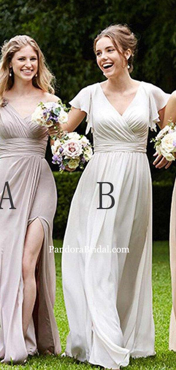 9d1e8eb0127 Simple Mismatched Top Pleated Long A-Line Chiffon Bridesmaid Dresses
