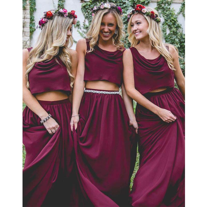 Charming Burgundy Jewel Neckline Two Pieces Long A-Line Chiffon Bridesmaid Dresses, Bridesmaid Dresses, PD0491