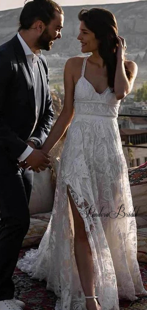 Charming Straps Crisscross Back Lace Side-Slit Wedding Dresses, PD01781