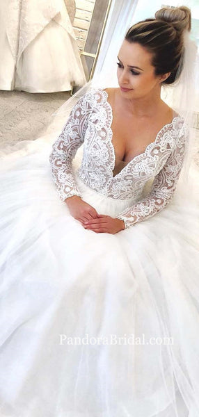 Elegant Long Sleeve Lace Top Long A-Line Tulle Wedding Dresses, Wedding Dresses, PD0537