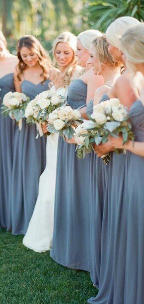 Charming Dusty Blue Sweetheart Long A-Line Chiffon Bridesmaid Dresses, VB02932