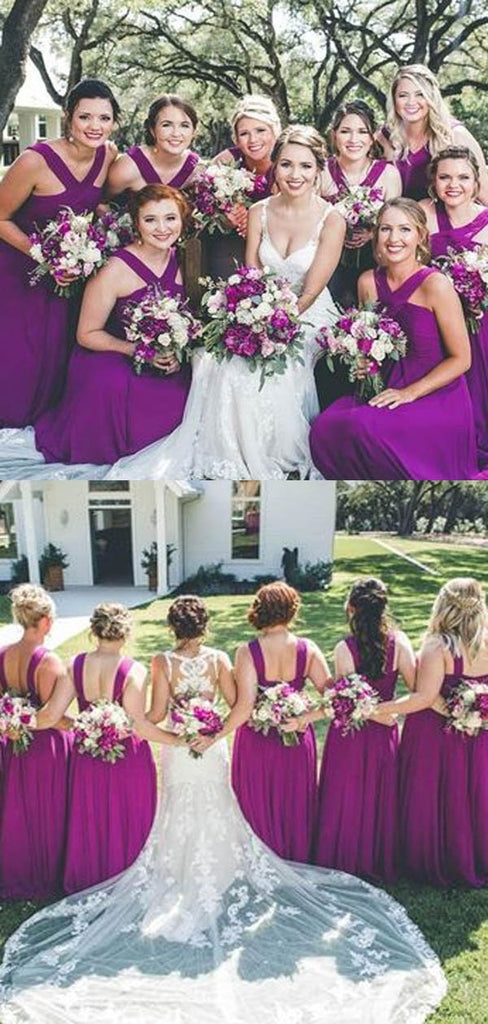 Charming Purple Crisscross Neck Zipper Up Long A-Line Bridesmaid Dresses, Bridesmaid Dresses, VB02293