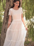 Elegant Short Sleeve Lace Top Long Tulle Wedding Dresses, PD01667