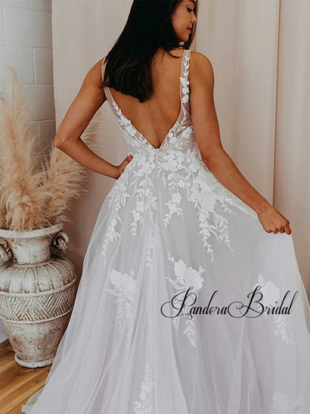 Charming V-Neck Wedding Dresses With Appliques, PD01743