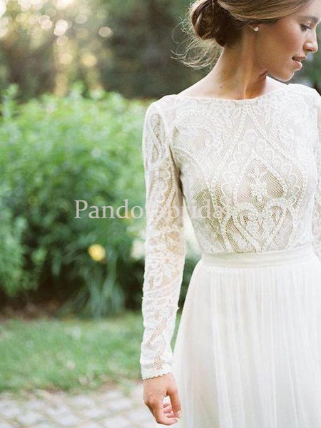 Elegant Bateau Neckline Long Sleeve Lace Top A Line Wedding Dresses, PD0923