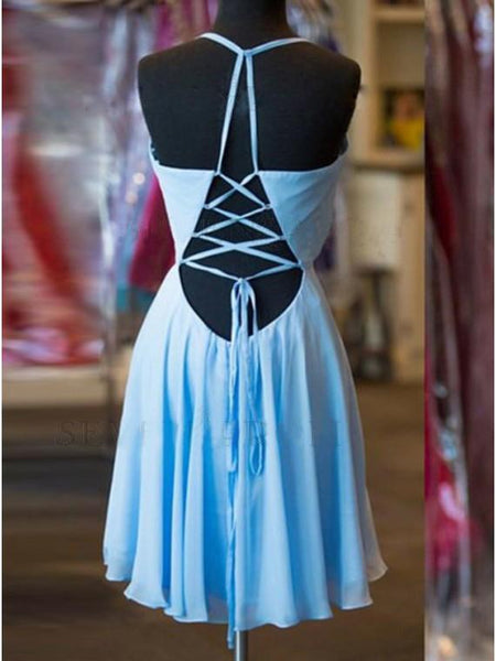 Sexy Casual Chiffon Blue Spaghetti Straps Short Cheap Homecoming Dresses Online, PD0242