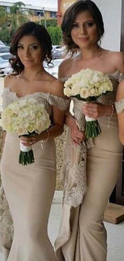 Elegant Off Shoulder Lace Top Long Mermaid Bridesmaid Dresses, Bridesmaid Dresses, VB02387