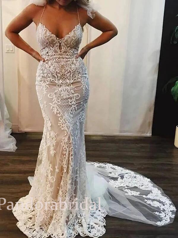 Elegant Halter Mermaid Wedding Dresses With Lace Appliques Vb02686