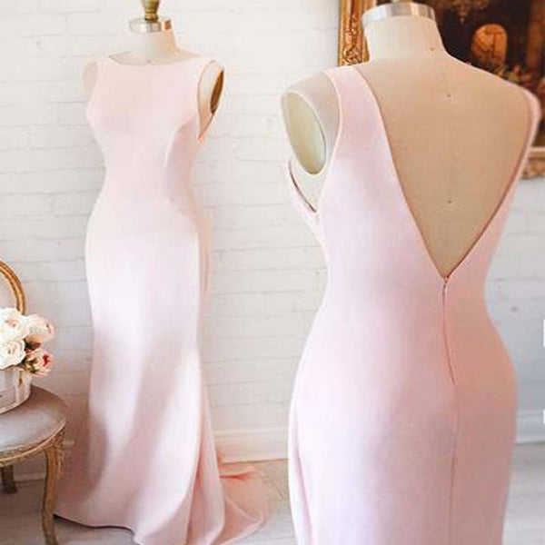 Pink Scoop Neckline V-Neck Long Mermaid Prom Dresses, Simple Prom Dresses, PD0303