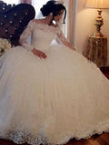 Gorgeous Off Shoulder Long Sleeve Beading Lace Wedding Dresses, Wedding Gowns, PD01744