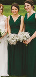 Charming V-Neck Green Top Pleated Long A-Line Chiffon Bridesmaid Dresses, VB02908