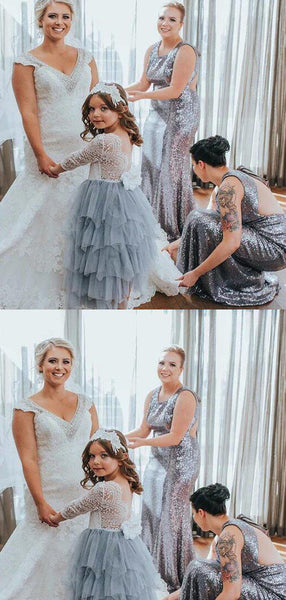 Shiny Silver Sequin Open Back Mermaid Bridesmaid Dresses, VB02933