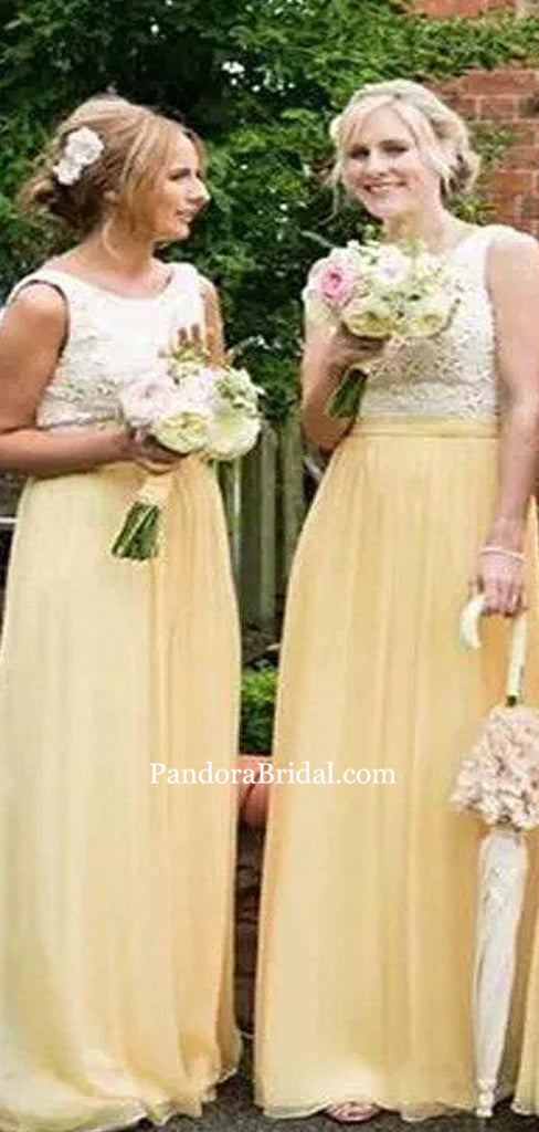 Hot Sale Lace Top Scoop Neckline Baby Yellow Long A-Line Chiffon Bridesmaid Dresses, Bridesmaid Dresses, PD0572