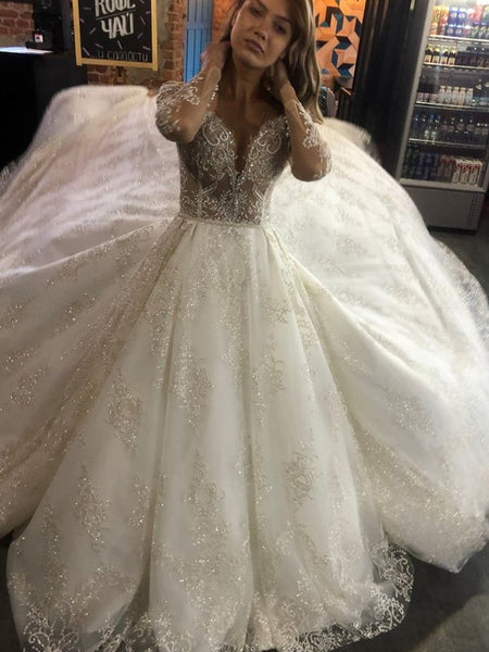Shinny Beading Deep V-Neck Long Sleeve With Appliques Wedding Dresses, Wedding Gowns, PD01745