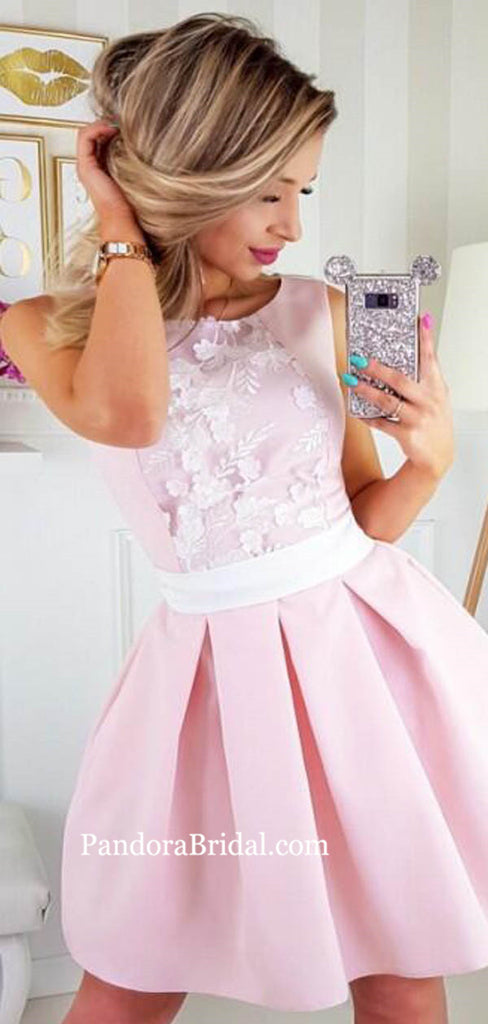 Elegant Pink Scoop Neckline Zipper Up Homecoming Dresses With Appliques, Homecoming Dresses, PD0728