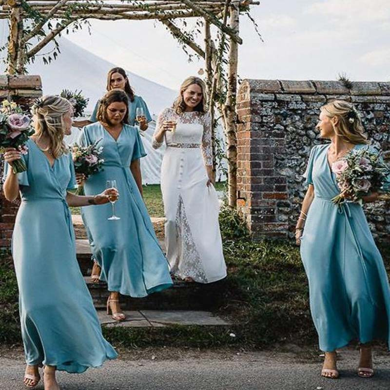 Charming Blue Cap Sleeve Long A-Line Chiffon Bridesmaid Dresses, Bridesmaid Dresses, PD0512