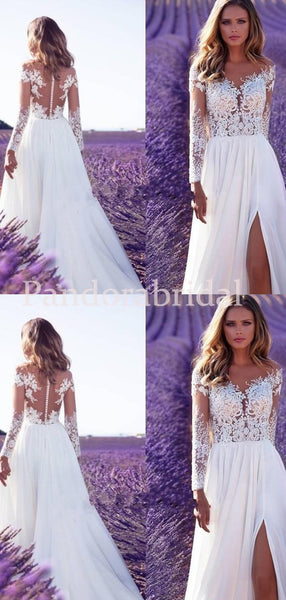 Alluring See Through Covered Button Long Sleeve With Appliques Wedding Dresses, PD0924