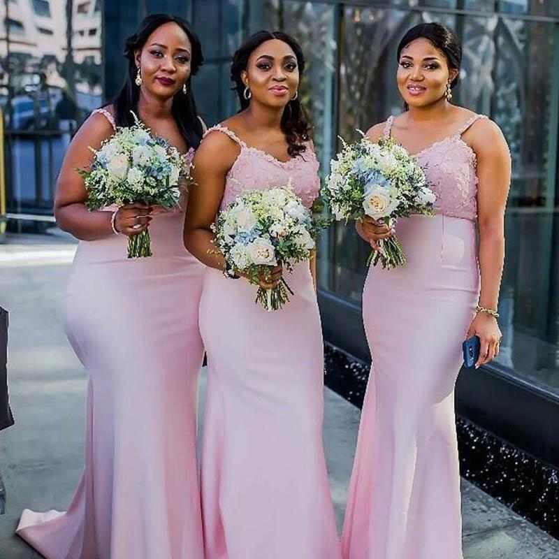 Lovely Pink Spaghetti Straps Lace Top Long Mermaid Bridesmaid Dresses, Spaghetti Straps Bridesmaid Dresses, VB02389