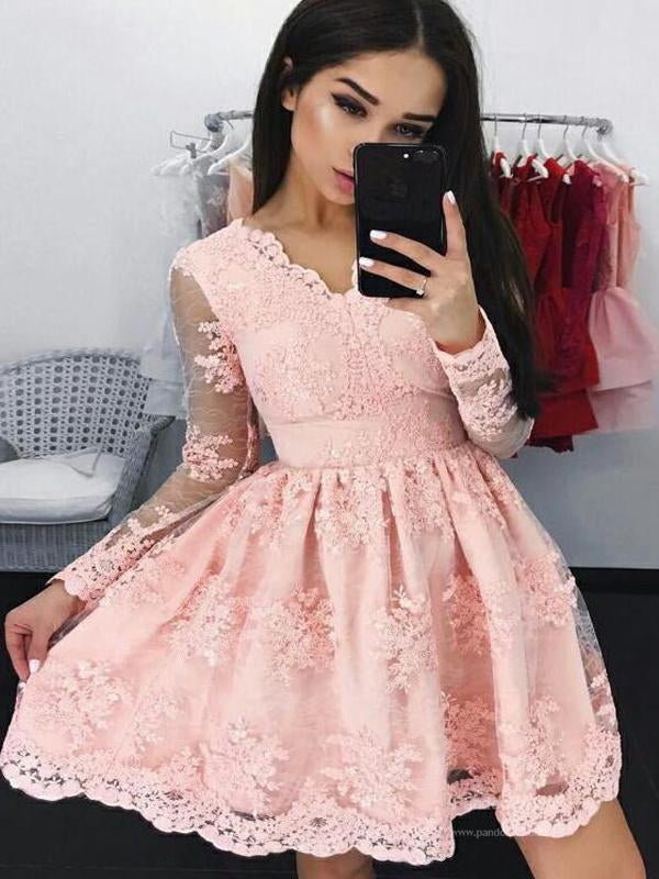 Charming Blush Pink Long Sleeve Homecoming Dresses With Lace, VB02497