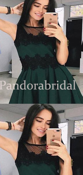 Classy Green Homecoming Dresses With Black Lace, Freshman Homecoming Dresses, VB02661