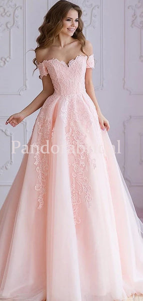 Unique Pink Off Shoulder Long A-Line With Lace Appliques Wedding Dresses, PD01669