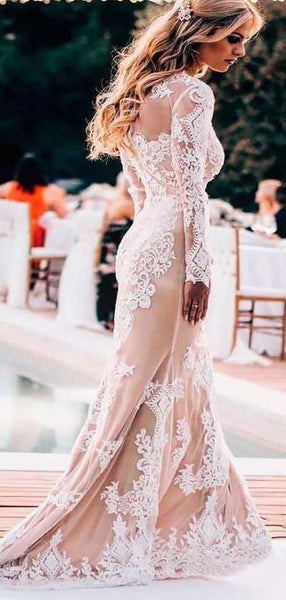 Boho Style Scoop Neckline Long Sleeve Long Mermaid Wedding Dresses With Lining, Wedding Dresses With Lace Appliques, PD0784