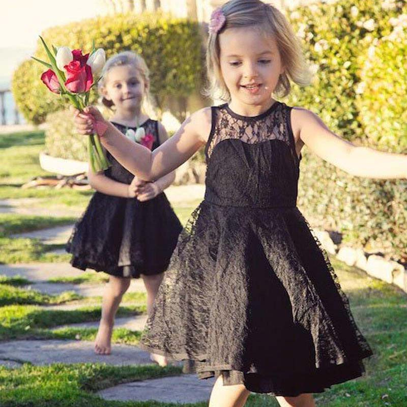 Unique Black Illusion Sleeveless Lace A Line Flower Girl Dresses Cheap Flower Girl Dresses Pd0114