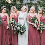 Alluring Bean Paste Color Spaghetti Straps Long A-Line Chiffon Bridesmaid Dresses, Simple Bridesmaid Dresses, PD0413
