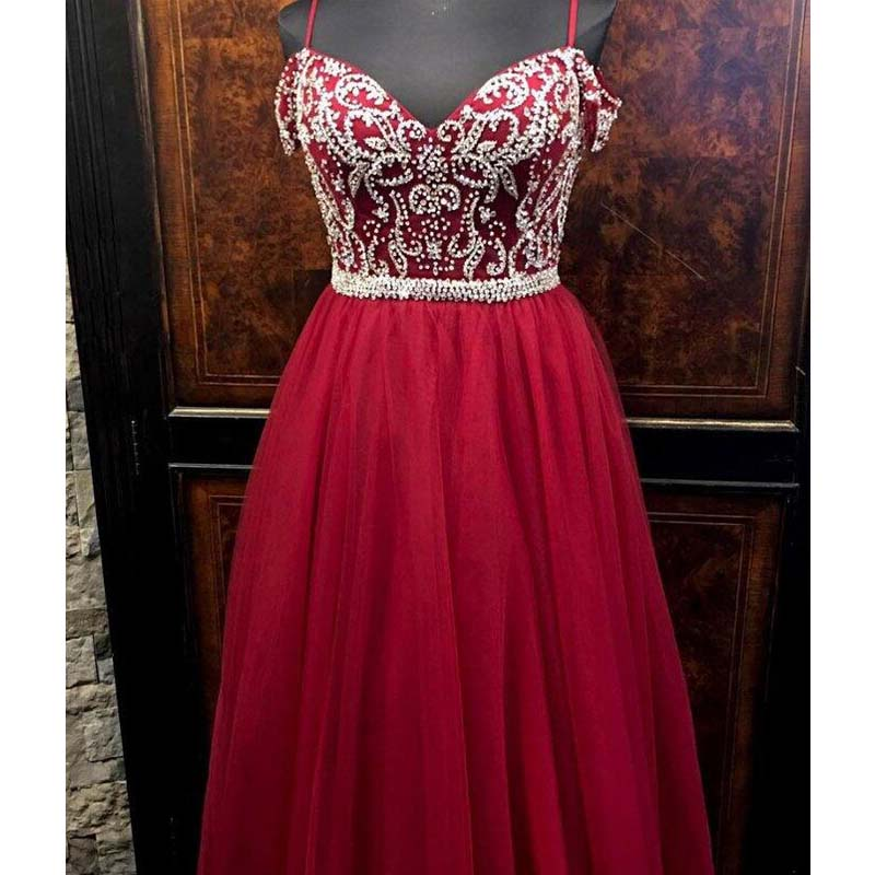 Shiny Top Beaded Red Spaghetti Straps Long A-Line Tulle Prom Dresses, Prom Dresses, PD0360