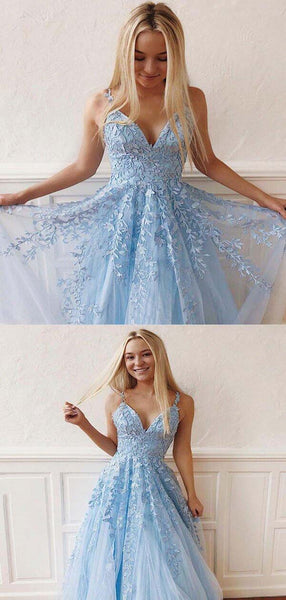 Charming Blue Spaghetti Straps Long A-line Tulle Prom Dresses With Lace Appliques, 2019 Prom Dresses, PD0420