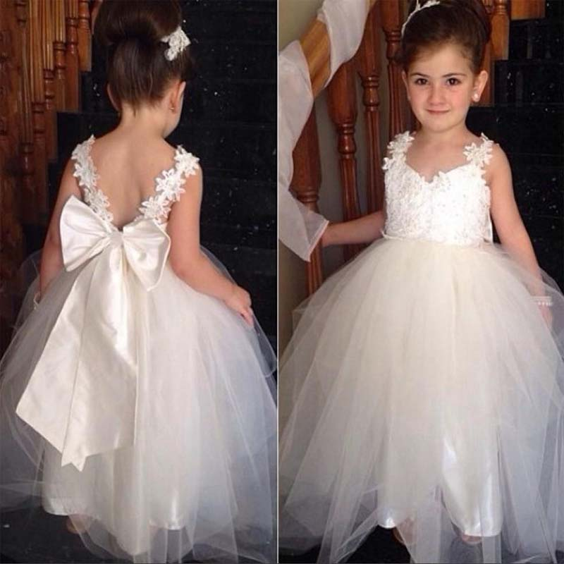 3379ed592 Cute Lace Top V-Back Ivory Long A-Line Flower Girl Dresses With Bow ...