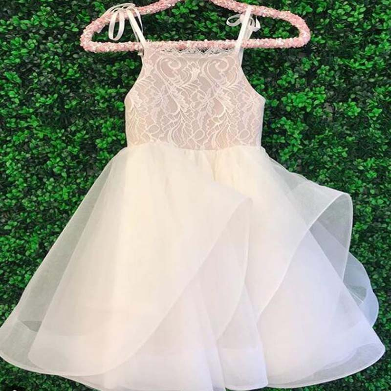 Cheap Spaghetti Straps Lace Top A Line Layered Organza Flower Girl