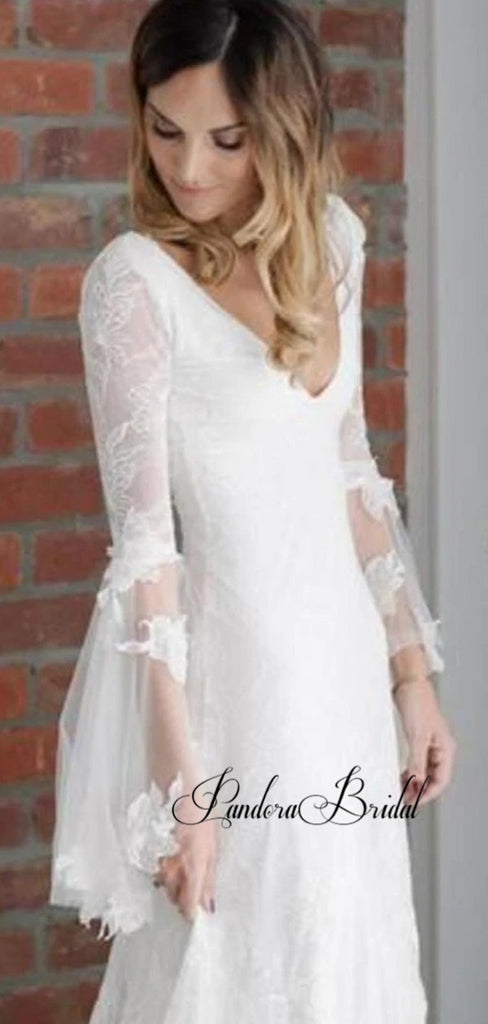 Elegant V-Neck Lace Wedding Dresses, PD01784