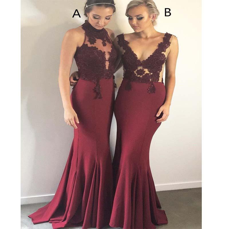 Burgundy Different Styles Sleeveless Long Mermaid Bridesmaid Dresses With Lace Appliques, Bridesmaid Dresses, VB01159