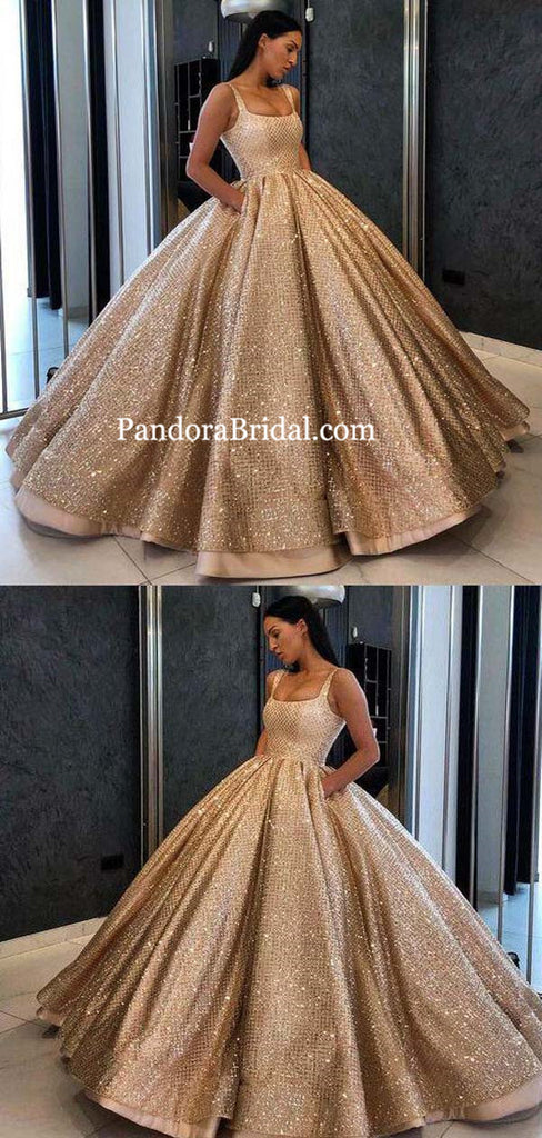 Shiny Straps Ball Gown A-Line Prom Dresses With Pockets, 2019 Prom Dresses, PD0472