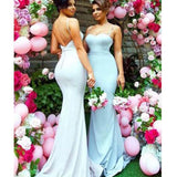 Sexy Spaghetti Straps Open Back Long Mermaid Bridesmaid Dresses, Hot Sale Bridesmaid Dresses, VB01164