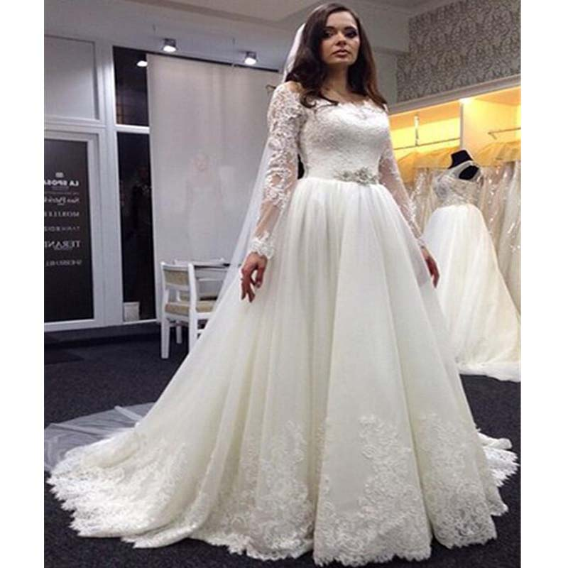 4b57ea50d348 Romantic New Style Long Sleeves Covered Buttons Lace Wedding Dresses With  Trailing, Gorgeous Off Shoulder