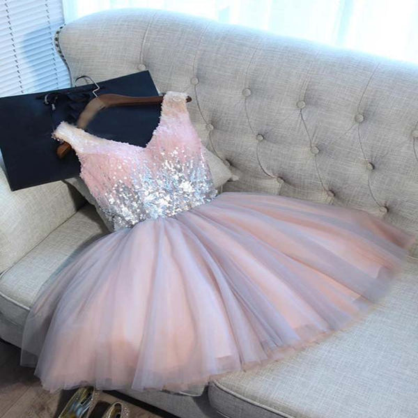 2018 Pink Homecoming Dress, V-neck Short/Mini Sleeveless Sequins Popular Homecoming Dress, PD0102